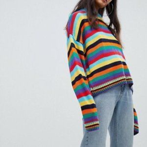 The Ragged Priest Oversized Rainbow Stripe Sweater